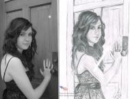 Ariane Robichaud, dessin au crayon et pastel sec (blanc et gris) sur papier Canson, 9 x 12, collection de l'artiste