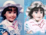 Autoportrait à 2 ans et demi, dessin au pastel secs sur papier Canson, 9 x 12, collection de l'artiste