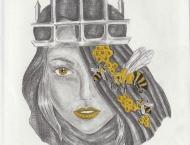 Queen Bee, dessin au crayon et marqueur sur papier Canson, 9 x 12