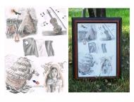 À Vendre- Dessin acadien, Crayon, Sanguine et Fusain, 9 x 12