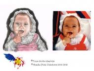 Autoportrait à 7 mois et demi, sanguine, pastel et crayon