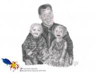Médor, Roméo et Charlie-Ève, dessin au crayon 8 x 10, Vendu collection privée
