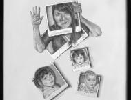 Autoportrait, 6 mois, 3 ans, 7 ans et 29 ans. Crayon 8 x 10