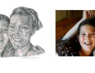 Véronique Friolet et sa maman, Crayon 8 x 10 sur Canson, Vendu collection privée